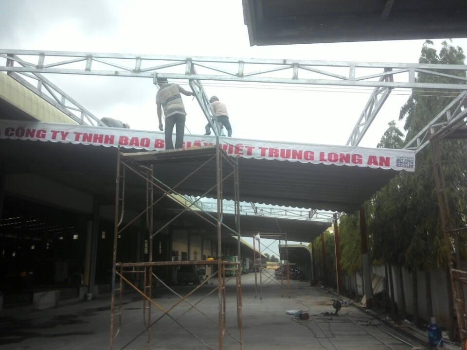 Mái hiên di động cty bao bì Việt Trung Long An