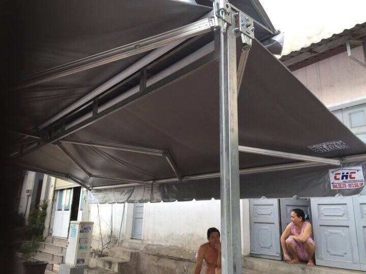 Mái Hiên Chữ A - Mái Hiên Cảnh Hưng = Free Standing Double Sides Balcony Retractable Awning for Sunshade/wind/Rain Sensor