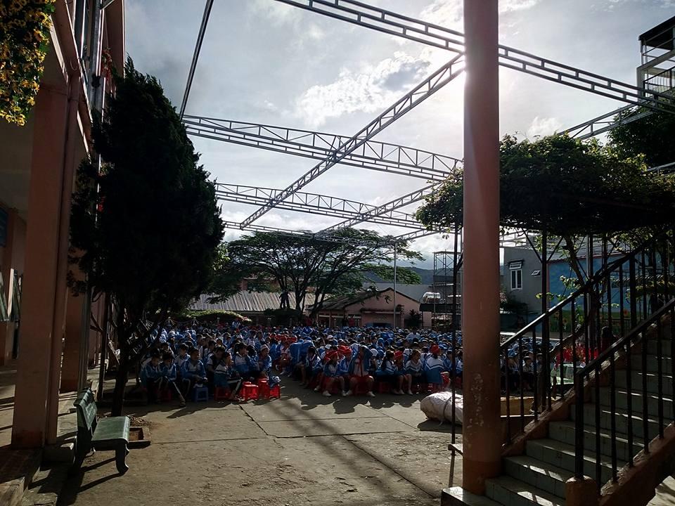 Thi công mái bạt Trường học Kim Đồng, Đức Trọng, Lâm Đồng