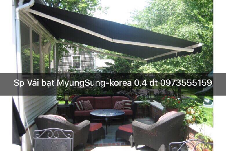 Mái hiên di động đẹp (bạt căng thảng) Mái hiên di động tốt ( Vãi Hàn Quốc, Tay nhôm dày 1.4mm, Bát đở 5mm...)